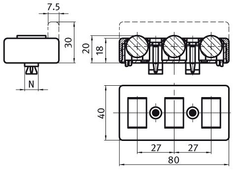 Roller Element, Screw-on Version Without Slot, Slot 8