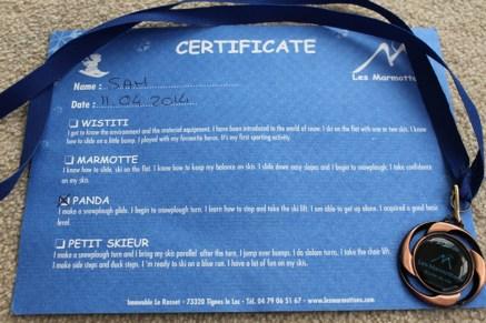 Sam's Marmotton Ski Certificate