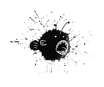 Angler fish made from an inkblot