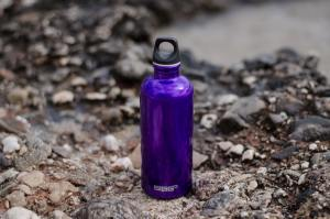 purple insulated water bottle