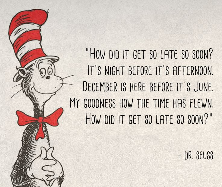 Year and a day - Dr Seuss How did it get so late so soon