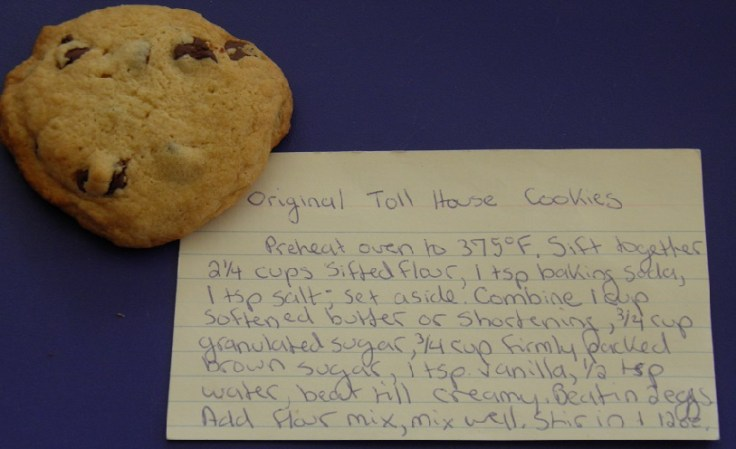 Toll House Cookie recipe card, with water