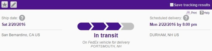 new camera delivery tracking - Fedex