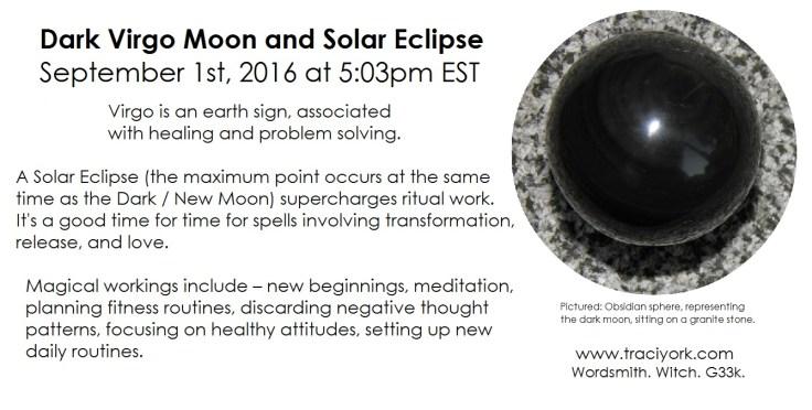 Dark Virgo Moon and Solar Eclipse