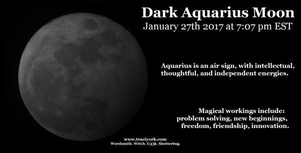 January 2017 Dark Aquarius Moon