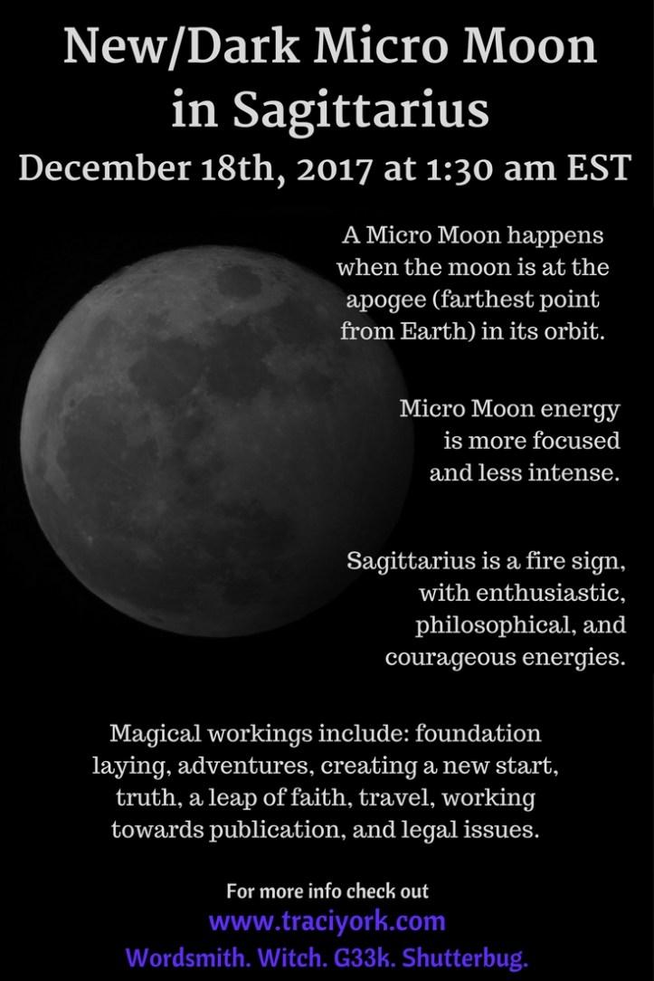 December 18th 2017 New/Dark Micro Moon in Sagittarius