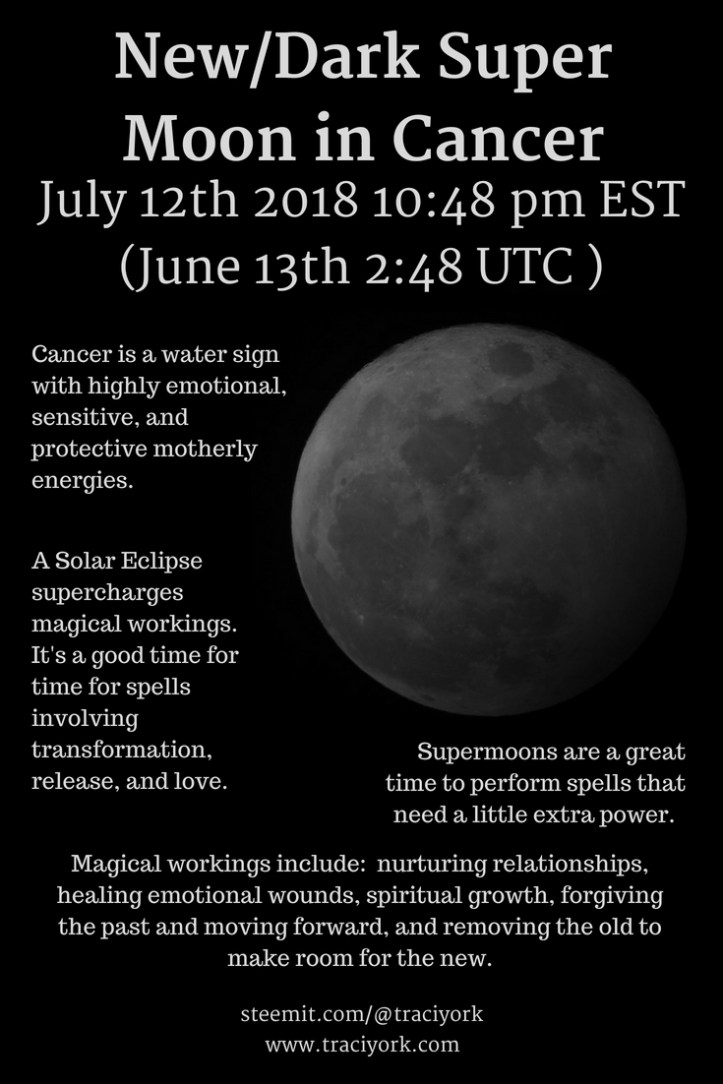 July 12th-13th 2018 New/Dark Super Moon in Cancer and Partial Solar Eclipse