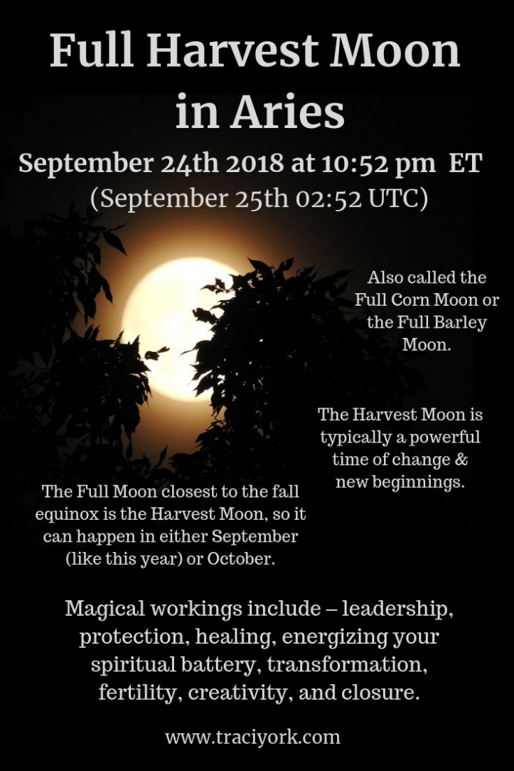 Full Harvest Moon in Aries September 2018 infographic