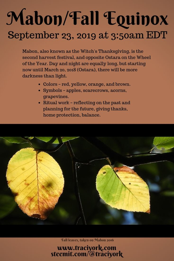 Mabon, Wheel of the Year 2019