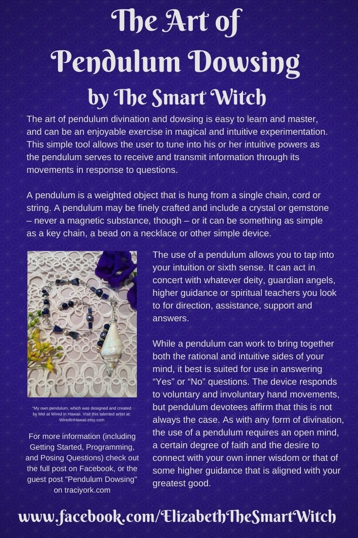 Infographic for The Art of Pendulum Dowsing, first section 2021