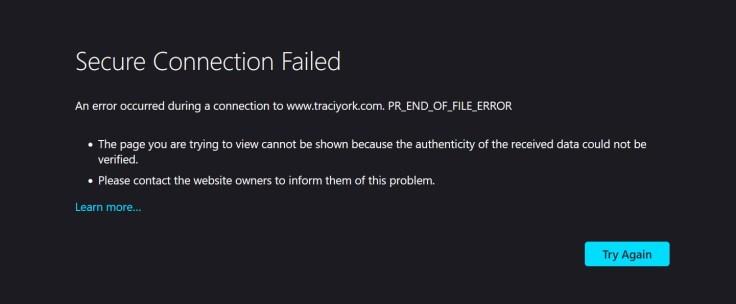 error message on traciyork.com