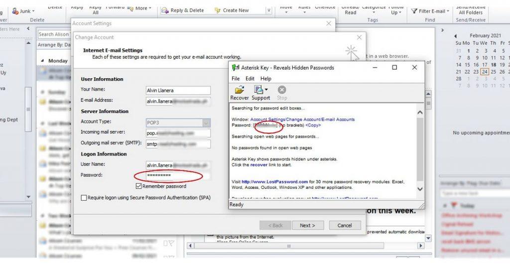 Passware Asterisk Key to reveal hidden email password