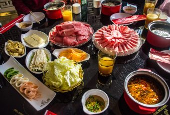 Hot-pot in Inner Mongolia province. With beef and mutton (sheep).