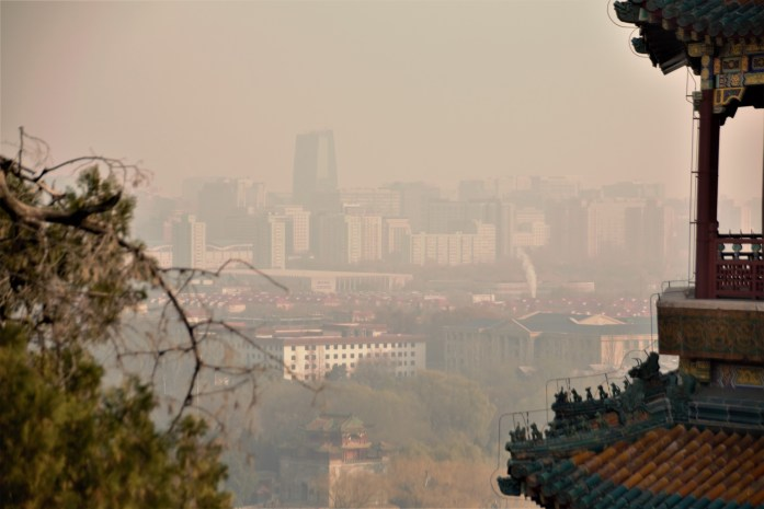 Air polution in Beijing. This is a sunny day.
