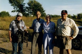 From left to right standing in the PMQ area, Peter Ford (location sound recordist, now deceased), Jack Arnold (ret. Chief Warrant Officer), Joan Arnold, and Richard Agecoutay (Director of Photography).