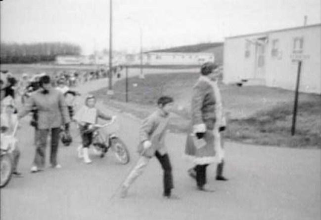 Bike parade in PMQ area, CFS Dana, Saskatchewan