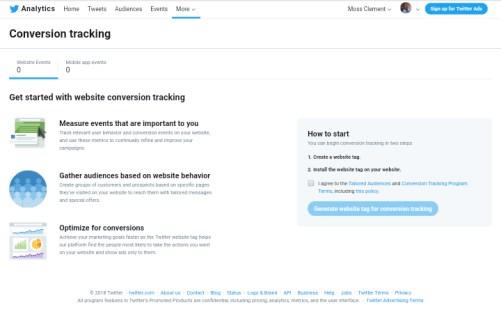 native Twitter analytics conversion tracking