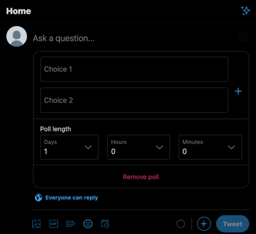 set-up Twitter poll