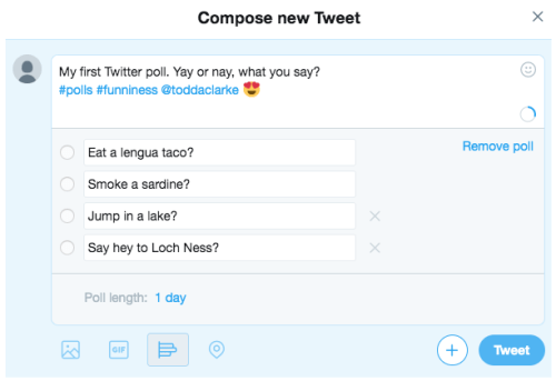 Compose Twitter poll