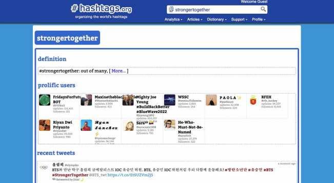 hashtag.org analytical dashboard screenshot