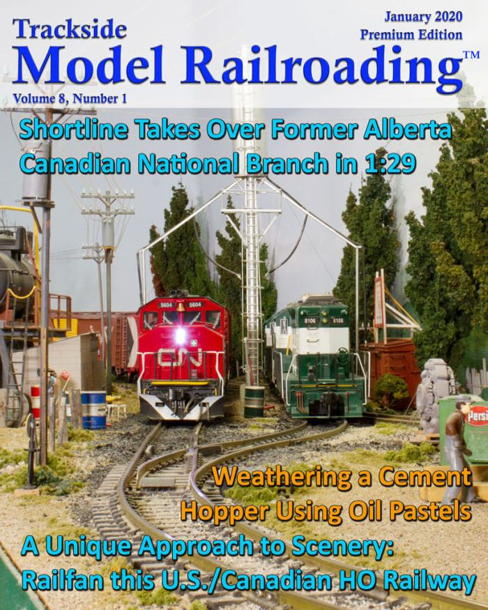 Model Railroad Canadian National locomotive on cover of Trackside