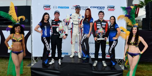 The second step of the podium became a familiar home for Aaron Telitz through the first three USF2000 races of 2015 (Photo courtesy of Indianapolis Motor Speedway, LLC Photography)