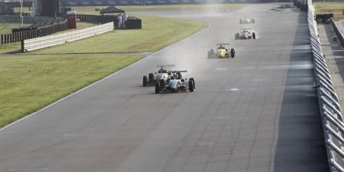 The Cooper Tires USF2000 powered by Mazda field took to a damp track for their first practice (Photo courtesy of Indianapolis Motor Speedway, LLC Photography)