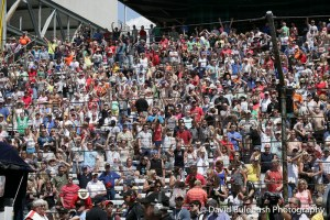 The crowd at the pit stop competition.