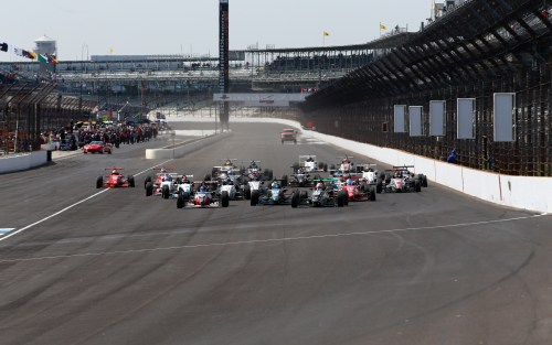 A full field of Cooper Tires USF2000 powered by Mazda head down the front straight at the Indianapolis Motor Speedway (Photo courtesy of Indianapolis Motor Speedway, LLC Photography)