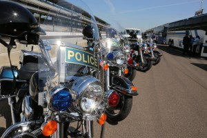 Indianapolis Police Motorcycles are lined up ready to escort the drivers to the parade.