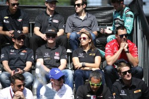 Drivers await the start of the drivers meeting.
