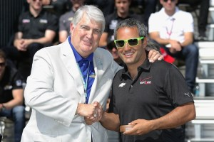 Juan Pablo Montoya accepts his ring for qualifying in the 99th running of the Indianapolis 500.