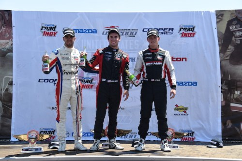 The USF2000 sophomore trio of Florian Latorre, Jake Eidson, and Aaron Telitz are currently 1-2-3 in the points standings and have shared a podium together five times so far in 2015. (Photo courtesy of Indianapolis Motor Speedway, LLC Photography)