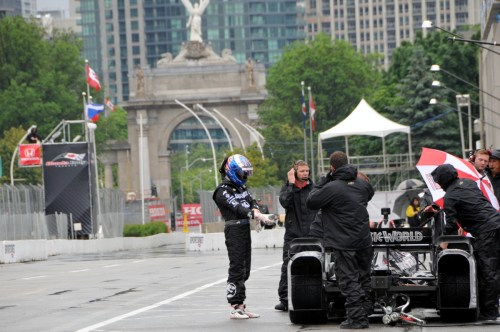 Scott Dixon was the only driver to venture out on to the wet track on Friday afternoon in Toronto.