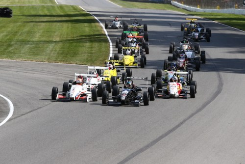 The USF2000 field lined up for their first race of the weekend at the Mid-Ohio Sports Car Course ((Photo courtesy of Indianapolis Motor Speedway, LLC Photography)