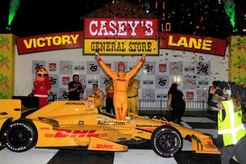 Iowa Speedway winner Ryan Hunter-Reay celebrates in Victory Lane