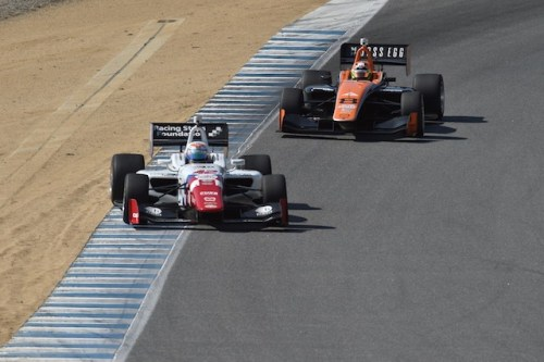 Jack Harvey gets sideways in front of Sean Rayhall during Indy Lights testing at Mazda Raceway Laguna Seca (Photo courtesy of Indianapolis Motor Speedway, LLC Photography)
