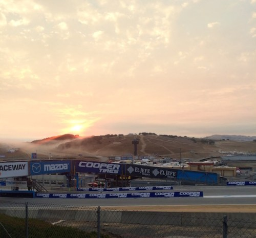 Sunrise over Mazda Raceway Laguna Seca this morning (photo by Steve Wittich)