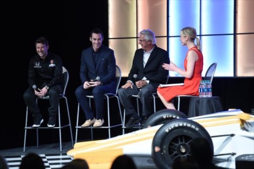 ESPN's Lindsay Czarniak hosts a roundtable with Rick Mears, Simon Pagenaud, and Marco Andretti at the Pursuit of Progress Party (Photo Courtesy of IndyCar - Chris Owens)