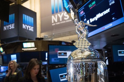The iconic Borg-Warner Trophy on the floor of the New YorK Stock Exchange (Photo courtesy of Indianapolis Motor Speedway twitter)