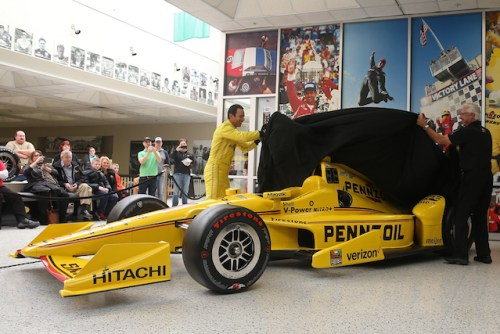 Helio Castroneves, Rick Mears and Rusty Baron unveil the No. 3's Pennzoil livery for the 100th Indianapolis 500 presented by PennGrade Motor Oil ((Photo Courtesy of IndyCar - Joe Skibinski)