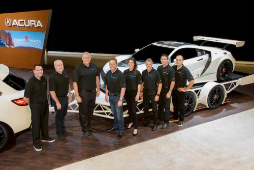 """2017 Acura Motorsports drivers and team owners pose with Art St. Cyr, president, Honda Performance Development.  From left: Ryan Eversley (driver, RealTime Racing), RTR owner Peter Cunningham, St. Cyr; team owner Michael Shank; MSR drivers Katherine Legge, Oswaldo """"Ozz"""" Negri, Andy Lally and Jeff Segal.  Not pictured: RTR driver Peter Kox. (photo courtesy of Acura Motorsports)"""