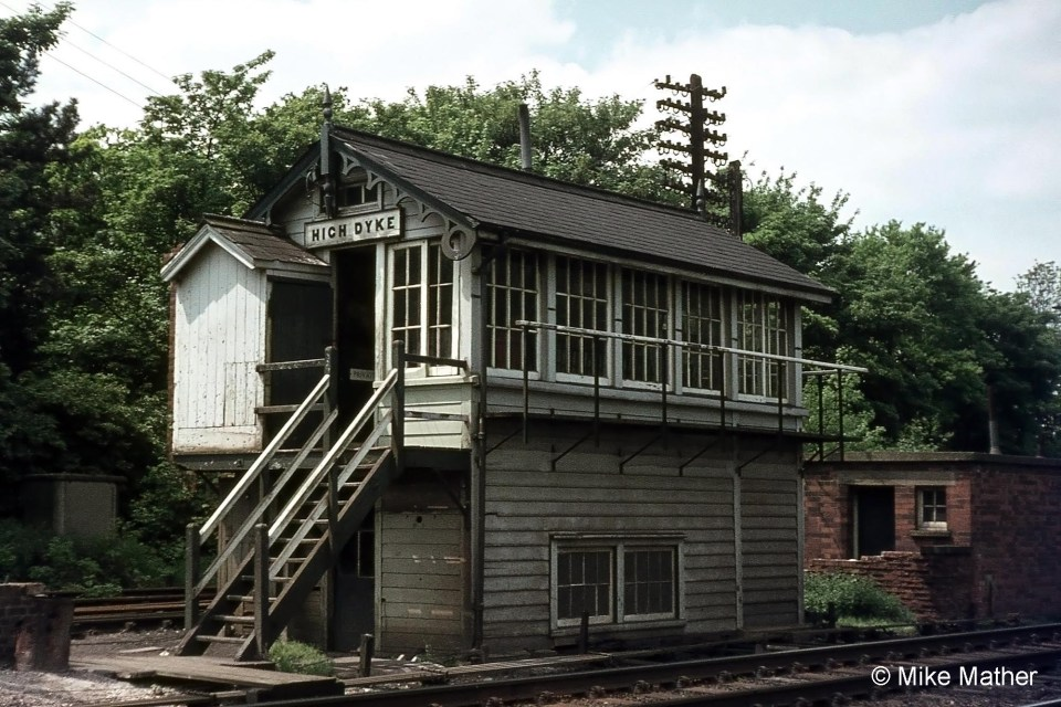 High Dyke signal box in June 1974. Photograph by Mike Mather.