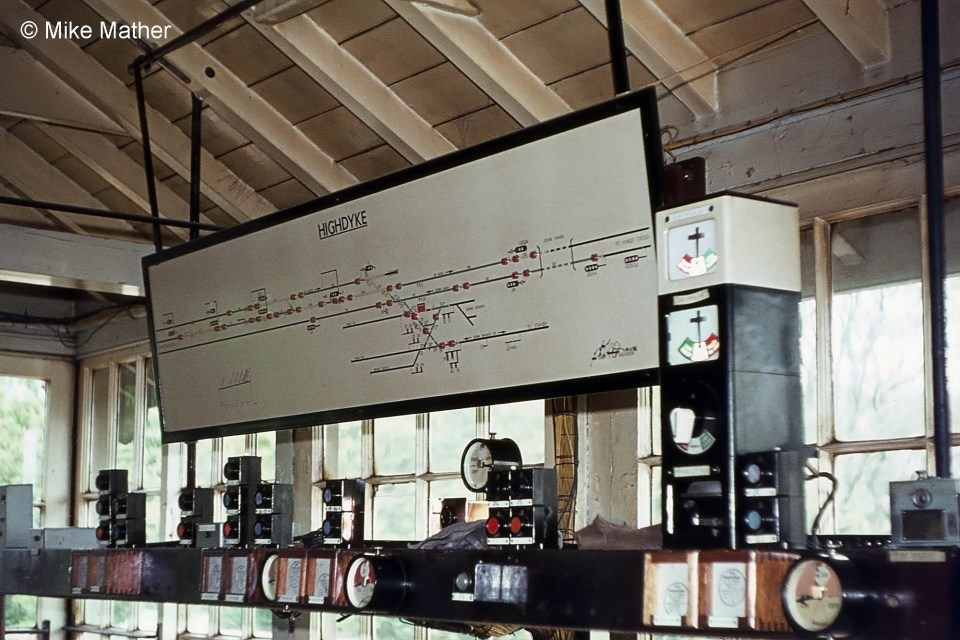High Dyke signal box block shelf and diagram, June 1974. Photograph by Mike Mather.