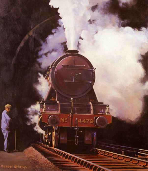 Boris Bennett, who kindly gave me a print of this painting, wrote: Class A1 No. 4479 'Robert the Devil' was built at Doncaster in 1923. She was allocated to Grantham shed in July 1923 and remained there until January 1942 when she was transferred to New England shed (Peterborough). Returning to Grantham from October 1942 she went to King's Cross in October 1946 and came back to Grantham for the last time in September 1951. Then back to King's Cross in June 1957 and withdrawn in May 1963. Whilst at Grantham she was kept in pristine condition and allocated to all the top drivers. At the time I started at Grantham in November 1939 she was allocated to driver W. Carman and fireman Rodgers, still in beuatiful condition. She is seen here rebuilt to class A3 as she leaves Copenhagen Tunnel with a Down express for Newcastle. From a painting by Michael Delany.