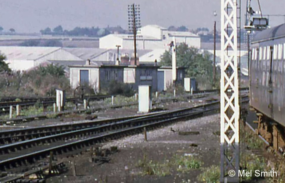 The concrete cabins at the lineside to the west of the North Box belonged to the S&T Fitters, including one specifically for the Locking Fitter. The old drilling machine is still in place, between the photographer and the door of the nearest cabin. Photograph by Mel Smith.