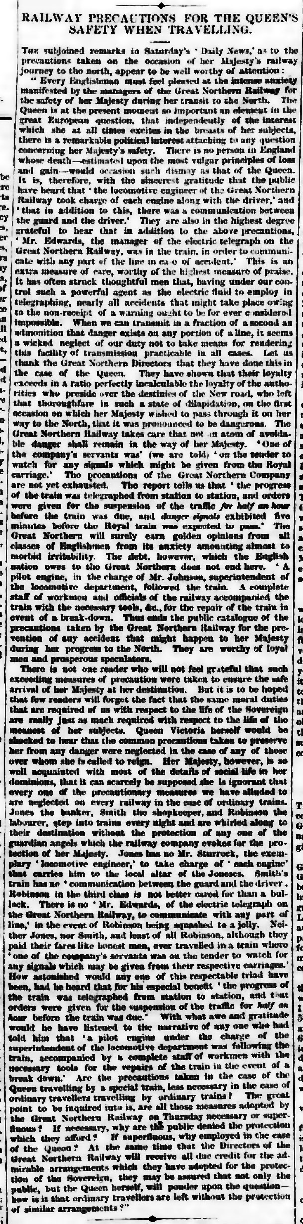 The Chester Chronicle 23rd September 1854, page 2 From The British Newspaper Archive Image © THE BRITISH LIBRARY BOARD. ALL RIGHTS RESERVED