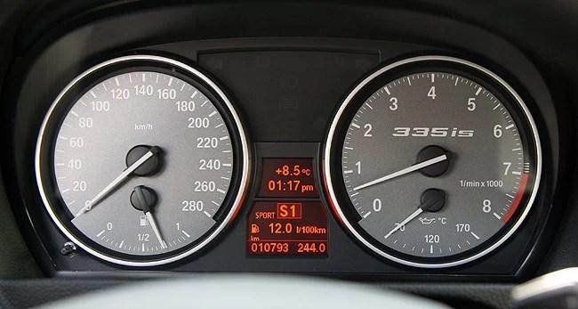 2011 BMW 335is Coupé Review gauges
