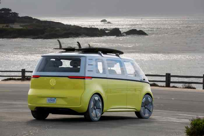 volkswagen I.D. BUZZ electric concept rear sunset