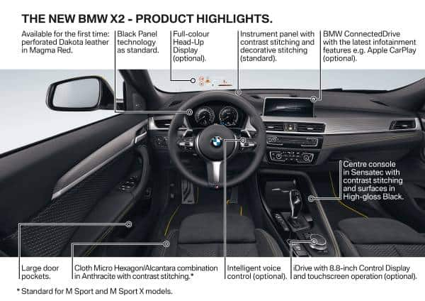 2018 bmw x2 features interior